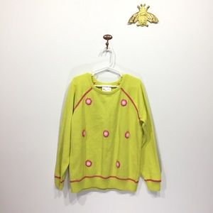 Hanna Andersson lime green crewneck sweater flower